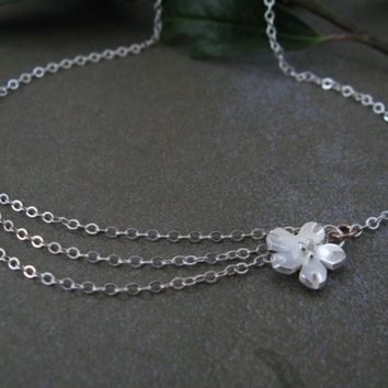 Cherry Blossom Simply Sweet Necklace Fine Silver