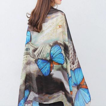 Colorful Butterfly Silk Scarf Shawl Pashmina