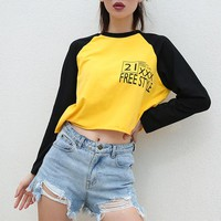 Women Loose Casual Letter Print Multicolor Long Sleeve Sweater T-shirt Crop Tops