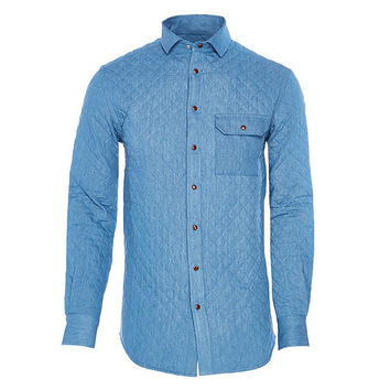 BUBBI Arctic blue quilted denim shirt
