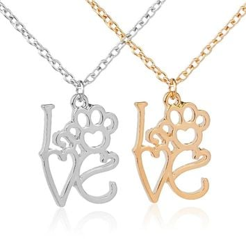 hollow monogram love dog cat pet paw prints necklaces simple Puppy Paw Heart Memorial jewelry for pet lover bestfriend necklace