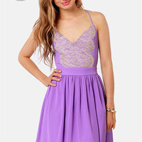 LULUS Exclusive Just Dance Backless Lavender Lace Dress