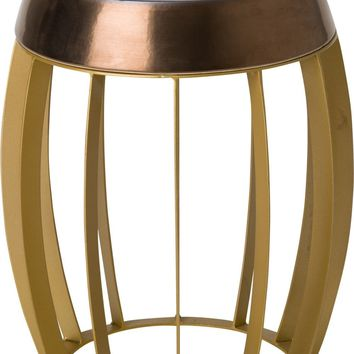 Ellis Metal Stool/Table Powedercoated Gold With A Gold Ceramic Top