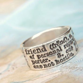 Best Friend Jewelry, Friendship Jewelry, BFF Gift, Friend Definition Ring, Best Friend Ring, Best Friend Ring Sizes 4 5 6 7 8 9 10 11 12 13