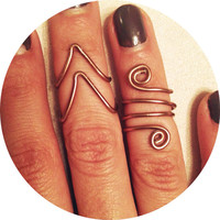 Bronze Mid Finger Wire Wrapped Chevron Stackable Ring Set