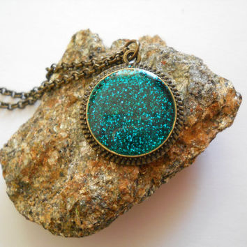 Small glitter pendant, antique brass necklace, resin jewelry, glitter jewelry, turquoise jewelry, turquoise glitter, dainty necklace