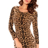 Crew Neck Leopard Mini Dress in Brown