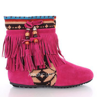 Pink Fringe Tribal Moccasin Ankle Boots from Milly Kate