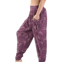 Handmade Ladies Baggy Trousers | Feather Print | Hippie Aladdin Harem pants for Women | Hippie Trousers | Harem Trousers | Thai Trousers | Ladies Hippie Boho Pants | Bohemian Trousers | Indian Thai Buddhist | Festival Rave PArty Pants | Lounge Pants Trouse