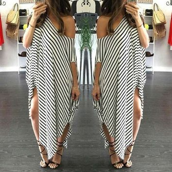 DCCK7XP New Women Loose Long Dress Striped Batwing Sleeve Off-shoulder Split Asymmetric Casual Dress White