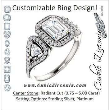 Cubic Zirconia Engagement Ring- The Cordelia (Customizable Cathedral-set Radiant Cut Design with 2 Trillion Cut Accents, Halo and Split-Pavé Band)