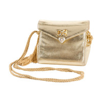 Judith Leiber Gold Lame Leather Evening Bag