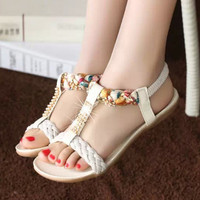Women sandals 2016 fashion new flat women sandals Rhinestone ladies shoes