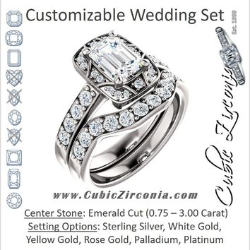 CZ Wedding Set, featuring The Payton engagement ring (Customizable Emerald Cut with Segmented Cluster-Halo and Large-Accented Band)