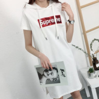 Supreme 2018 new spring and summer letter embroidery hooded cotton long-sleeved short sleeve