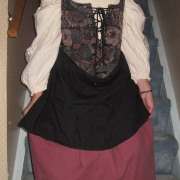 Complete Renaissance Outlander Costume Boned Reversible Corset Vest, Poet Shirt Smock; 2 Skirts Maroon & Black Sz S to M Wench Bustle Pirate