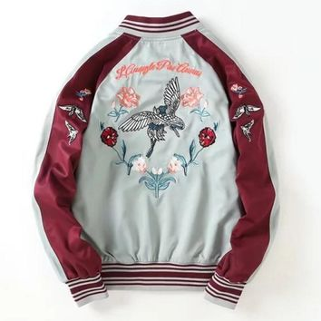 Back Floral Embroidery Long Sleeve Zipper Splicing A Satin Baseball Jacket-1