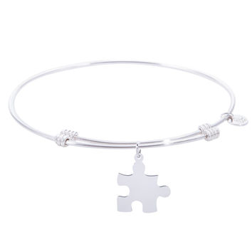 Sterling Silver Tranquil Bangle Bracelet With Puzzle Piece Charm