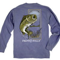 Large Mouth Bass Long Sleeve Tee in Blue Jean by Fripp & Folly