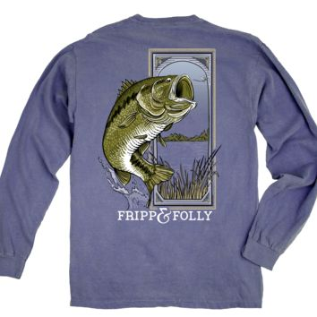 Large Mouth Bass Long Sleeve Tee in Blue Jean by Fripp & Folly - FINAL SALE