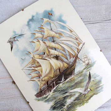 Antique Sailboat metal Picture, Nautical, Cottage chic, Sea lover, Ocean, Gift for man, Loft decor, Metal Art, seagull, Waves, Man Office