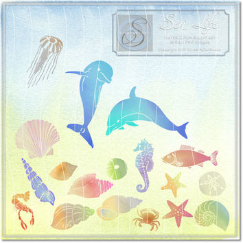 Sea Creatures, Clip Art, Clipart, Craft Supplies, Paper Craft, Scrap Booking, Embellishments, Card Making, Greeting Cards - Sea Life