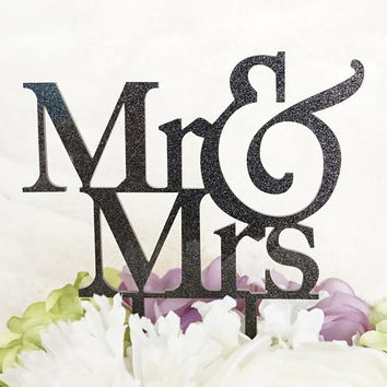 Mr and Mrs Glitter Black Acrylic Cake Topper Laser Cut Bride and Groom Wedding Cake Decoration