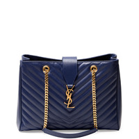 Monogramme Matelasse Shopper Bag, Navy - Saint Laurent