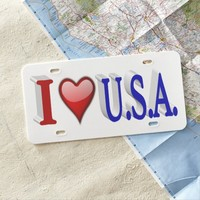 I Heart U.S.A. 3D License Plate, Red & Blue License Plate