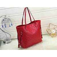 LV fashion hot selling women's floating pattern single shoulder shopping bag Red