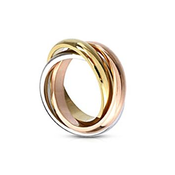Spikes Stainless Steel Triple Tone Tri-Roll Links Band Ring