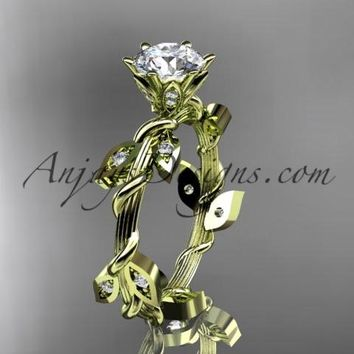 """14kt yellow gold diamond leaf and vine wedding ring,engagement ring with a """"Forever One"""" Moissanite center stone ADLR20"""