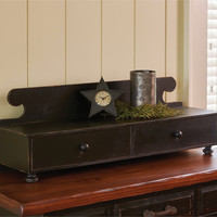 Rustic Counter Shelf with Storage drawers - Aged Black