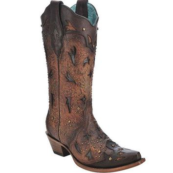LMFYW3 Corral Brown Embossed & Studs Boots