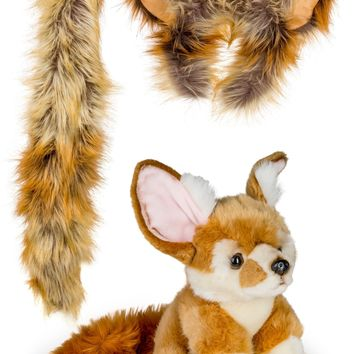 Stuffed Plush Fennec Fox Ears Headband and Tail Set with Baby Plush Toy Fennec Fox Bundle for Pretend Play Animals Dressup