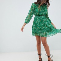 Boohoo Floral High Neck Prairie Dress at asos.com