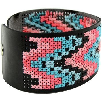 "Faux Leather Bracelet Punched For Cross Stitch-8""X1.5"" Black"