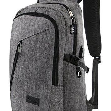 "Mancro Water Resistant Polyester Laptop Backpack w/USB Charging Port & Lock Fits 17"" Laptop"