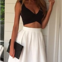 Mesh Patchwork Skirt and Strap Top Two Piece