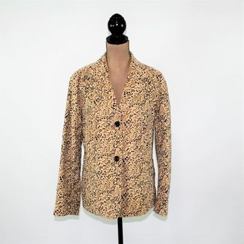 Floral Jacket Women XL Corduroy Blazer Plus Size 16 Beige Brown Casual Jacket Fall Sigrid Olsen Boho Plus Size Clothing Womens Clothing