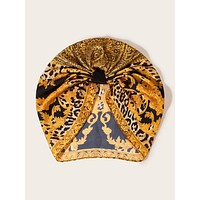 Flower & Leopard Pattern Pleated Turban Hat