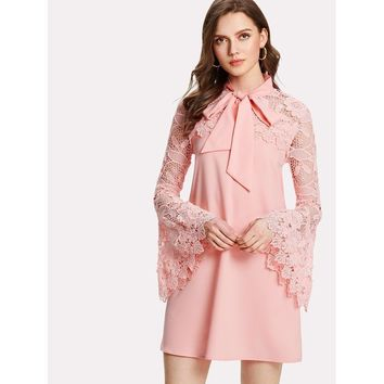 Tie Neck Lace Yoke Bell Sleeve Dress