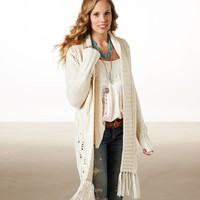 AE Open Fringe Sweater Coat | American Eagle Outfitters