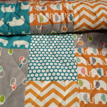 Modern Baby Quilt,Organic baby quilt,baby boy quilt,baby girl quilt,rustic,woodland,crib bedding,Birch fabrics,elephant,teal,orange,grey