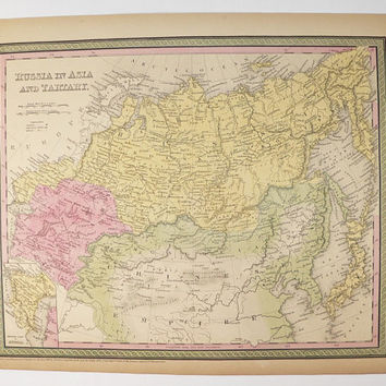 Antique Russia Map 1852 Mitchell Map Russia in Asia, Siberia Map Tartary, Russia Historical Map, Geography Russian Decor Gift for Coworker