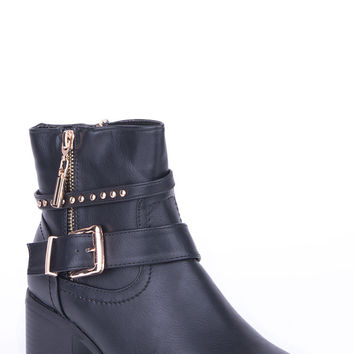 Buckle Detail Double Zip Ankle Boot