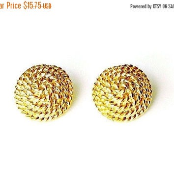 SALE Vintage Monet Earrings, Gold Tone Dome Earrings, Nautical Coiled Rope Earrings, Button Earrings.