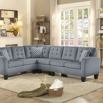 Home Elegance 8202GRY-2pcSEC 2 pc sinclair collection gray fabric upholstered reversible sectional sofa set with tufted backs
