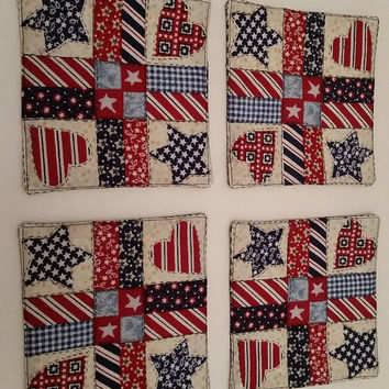 Classic Americana Patriotic Patchwork Coasters Set of 4 Country Home Decor Barware Red White Blue Memorial Day 4th of July Labor Day USA