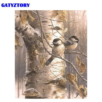 GATYZTORY Frame Autumn Birds DIY Painting By Number Modern Wall Art Handpainted Oil Painting Acrylic Paint On Canvas Artwork